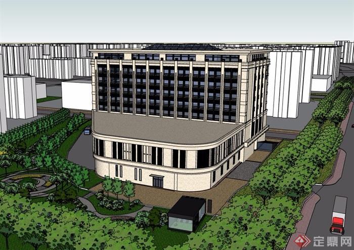 現代風格多層辦公建筑樓素材su模型