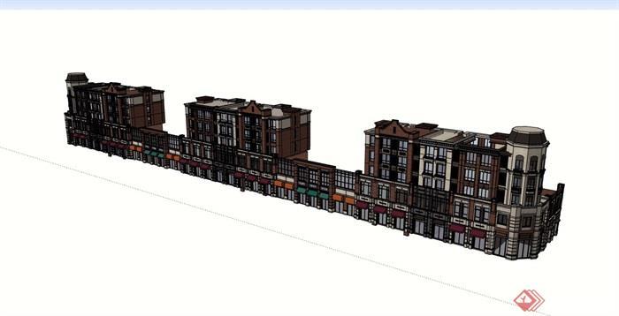 歐式風格商業街住宅建筑樓設計su模型
