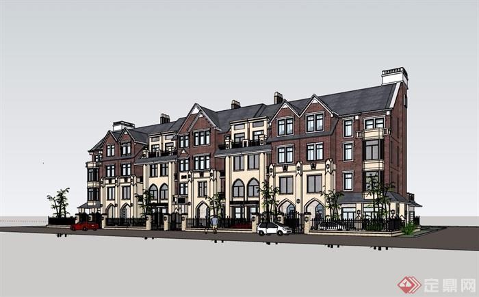 歐式多層聯排住宅別墅建筑樓設計su模型