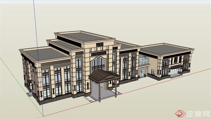 歐式詳細的多層商務會所建筑樓設計su模型