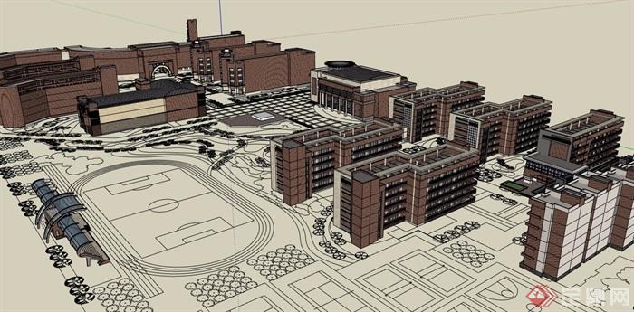 現代多層詳細的學校教育建筑樓設計su模型