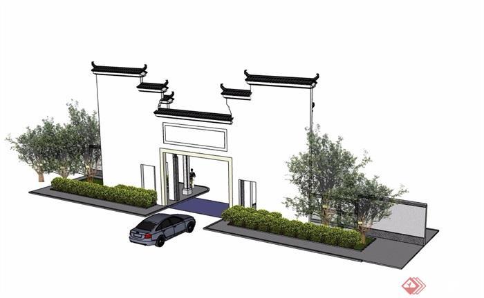 徽派中式風格詳細的入口大門素材設計su模型