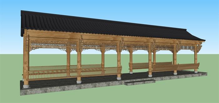 中式回廊隼牟結構su素材模型(1)