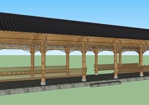 中式回廊隼牟结构SU(草图大师)素材模型