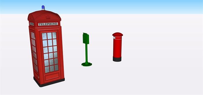 特色電話亭郵筒su精細素材模型(1)