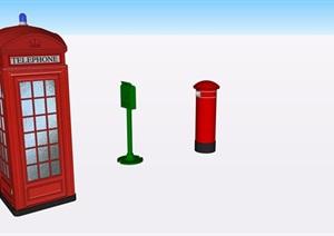 特色电话亭邮筒SU(草图大师)精细素材模型