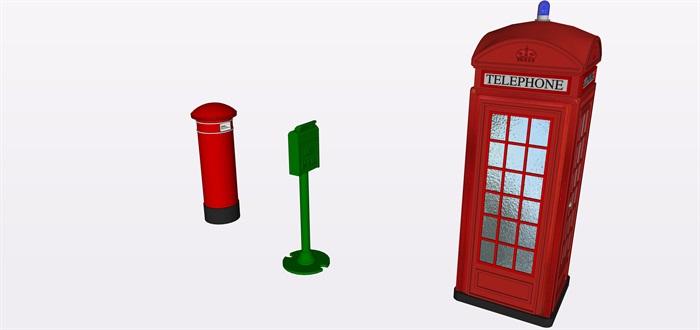 特色電話亭郵筒su精細素材模型(3)