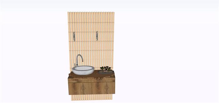 室內禪意舊木板洗手臺su素材模型(1)