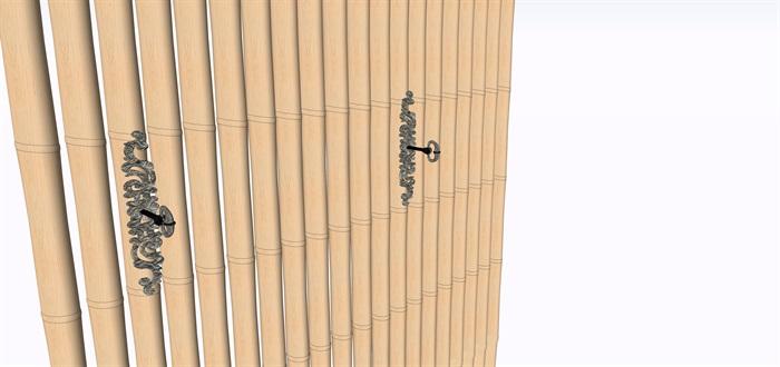 室內禪意舊木板洗手臺su素材模型(3)