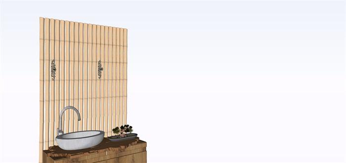 室內禪意舊木板洗手臺su素材模型(4)