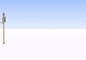 電線桿路燈SU(草圖大師)素材模型
