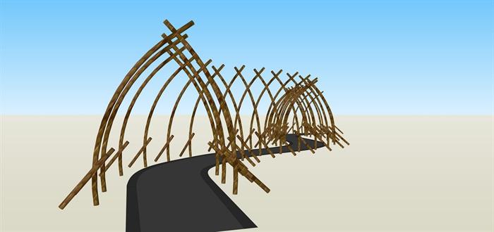 農家樂竹子造型通道su素材模型(2)