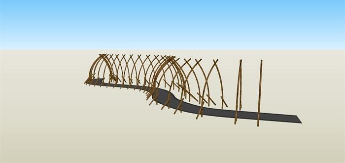 農家樂竹子造型通道su素材模型(3)