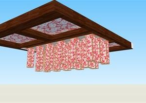 中式特色景观吊灯SU(草图大师)素材模型