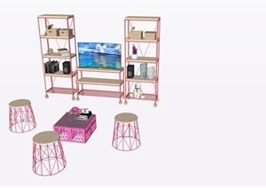 北欧粉色家具摆件SU(草图大师)素材模型