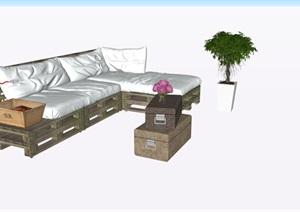北欧工业风沙发家具摆件SU(草图大师)素材模型