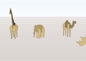 老虎、犀牛、长颈鹿、骆驼等动物模型SU(草图大师)素材