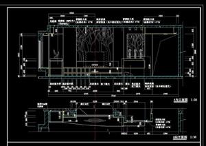 現代電視背景墻設計cad施工圖
