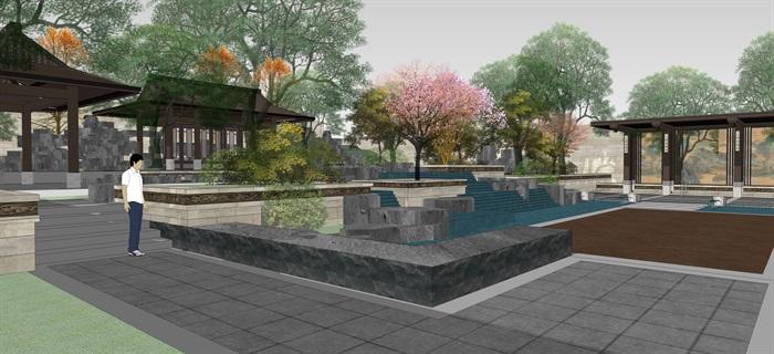 新中式別墅庭院花園景觀設計su模型素材(1)