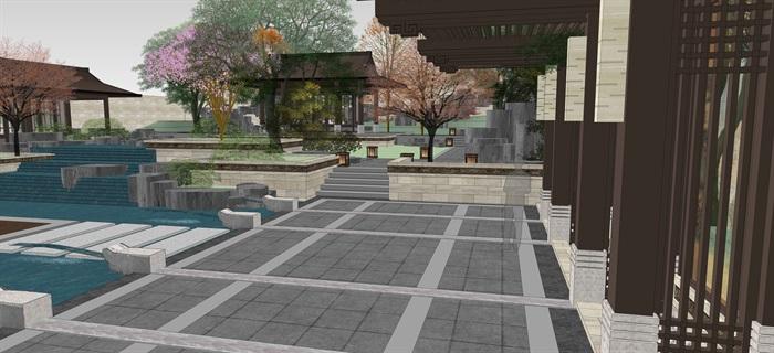新中式別墅庭院花園景觀設計su模型素材(2)