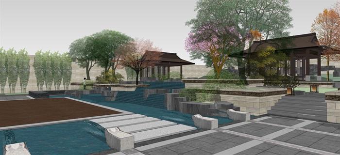 新中式別墅庭院花園景觀設計su模型素材(4)