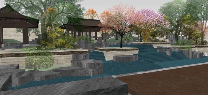 新中式別墅庭院花園景觀設計su模型素材(5)