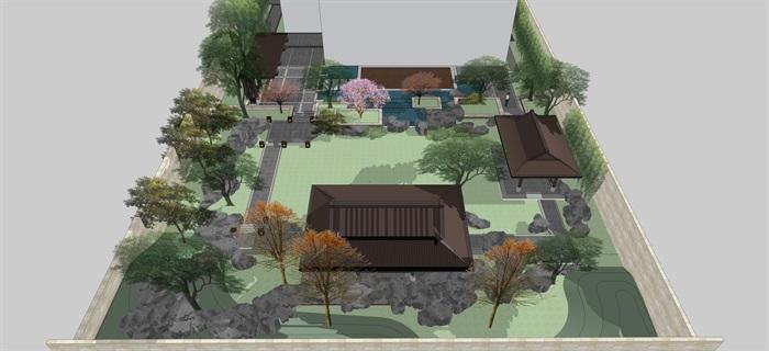 新中式別墅庭院花園景觀設計su模型素材(6)