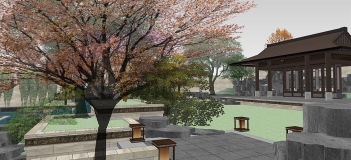 新中式別墅庭院花園景觀設計su模型素材(7)