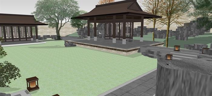新中式別墅庭院花園景觀設計su模型素材(8)