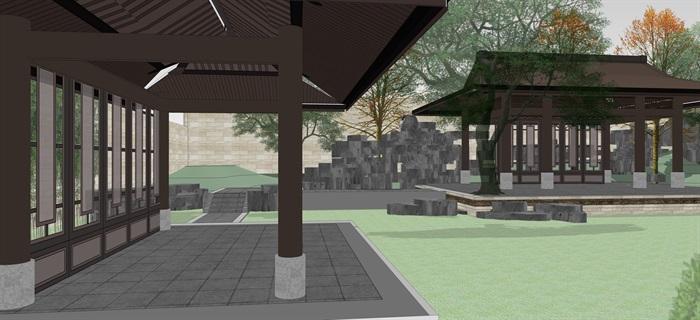 新中式別墅庭院花園景觀設計su模型素材(9)