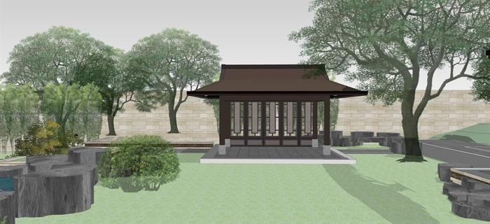 新中式別墅庭院花園景觀設計su模型素材(10)