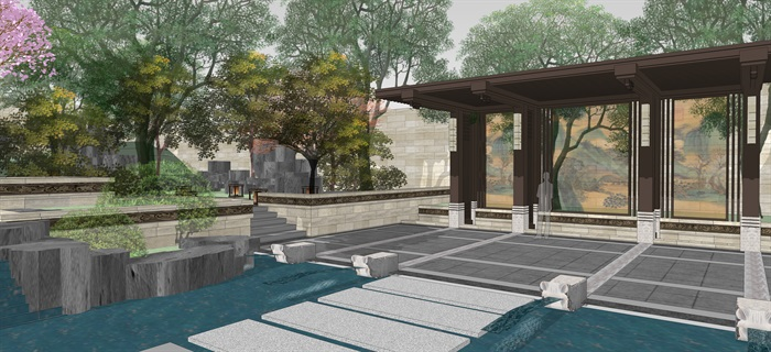 新中式別墅庭院花園景觀設計su模型素材(12)