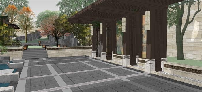 新中式別墅庭院花園景觀設計su模型素材(13)