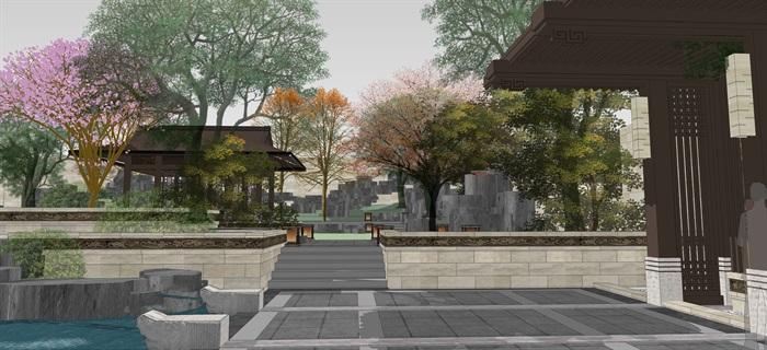 新中式別墅庭院花園景觀設計su模型素材(14)