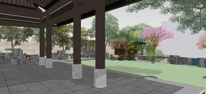 新中式別墅庭院花園景觀設計su模型素材(15)