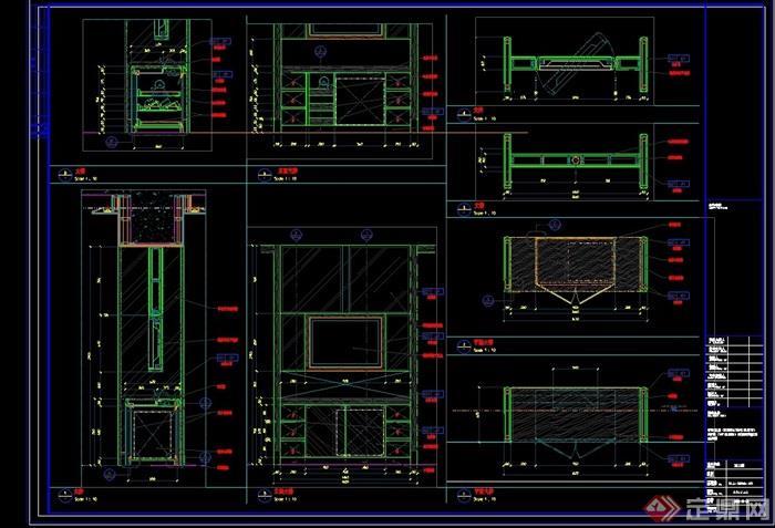 酒店電視柜詳細完整設計cad詳圖