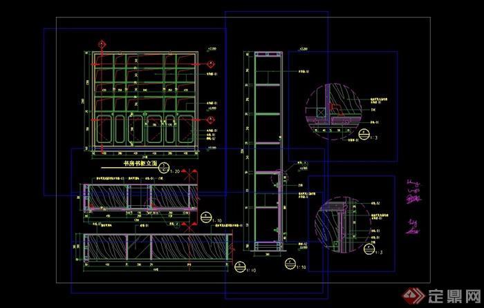 别墅书房书柜完整设计cad详图