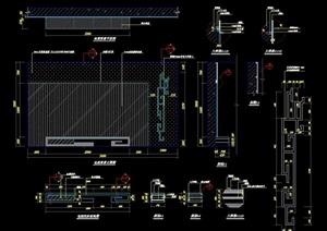 某詳細的完整電視背景設計cad施工詳圖