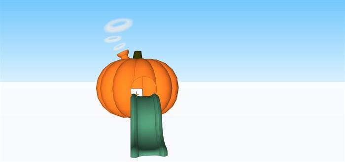 夢幻南瓜屋和滑梯煙囪su素材模型(1)