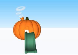 梦幻南瓜屋和滑梯烟囱SU(草图大师)素材模型