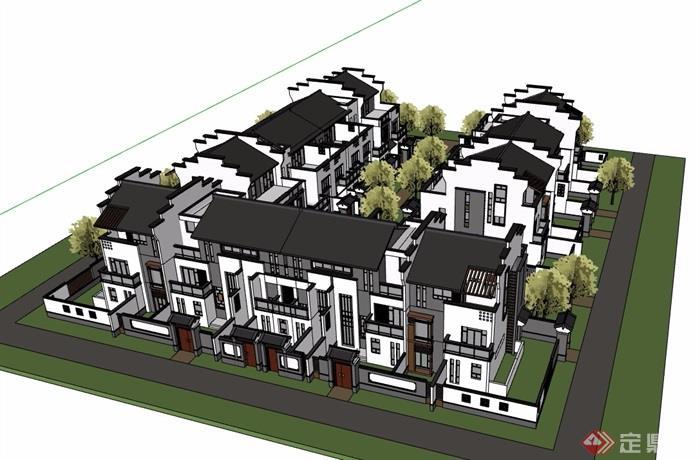 某徽派中式風格詳細的別墅建筑設計su模型