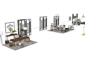 新中式风格茶室家具SU(草图大师)模型