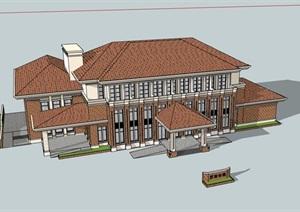 某详细完整的旅游接待建筑楼SU(草图大师)模型