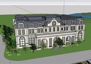 美式风格详细的商务会所建筑设计SU(草图大师)模型