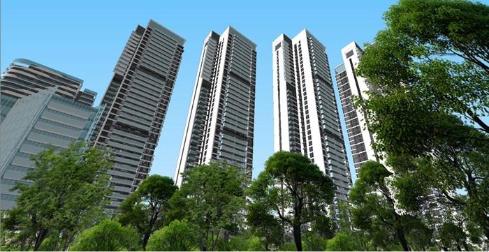 现代商业办公与住宅高层组团SU建筑模型与方案文本(1)