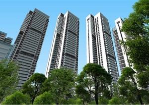 现代商业办公与住宅高层组团SU(草图大师)建筑模型与方案文本