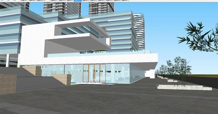 现代商业办公与住宅高层组团SU建筑模型与方案文本(9)