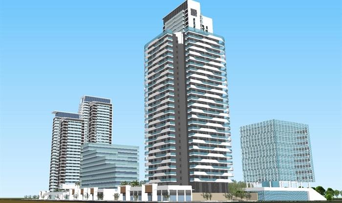 现代商业办公与住宅高层组团SU建筑模型与方案文本(10)