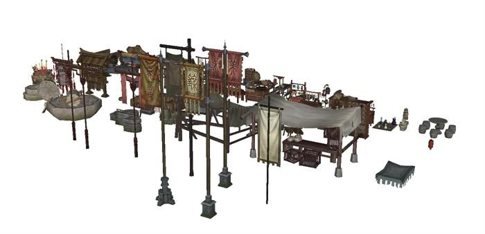 一組古典中式風格古鎮商鋪小吃攤人物與擺件su模型(1)