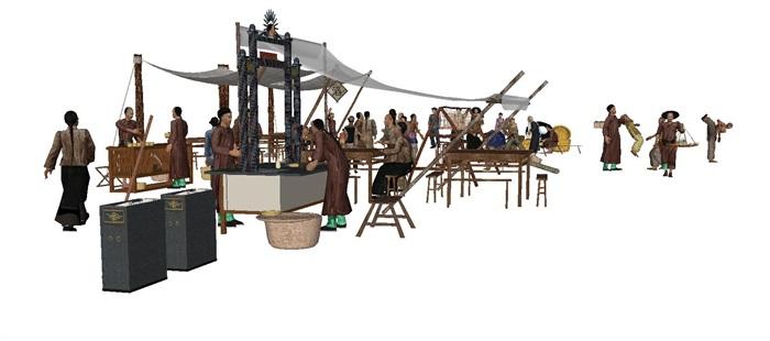 一组古典中式风格古镇商铺小吃摊人物与摆件su模型(2)
